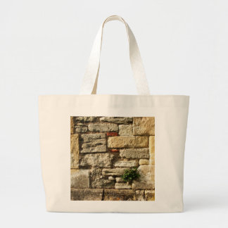 Stone Wall. With small plant. Canvas Bag