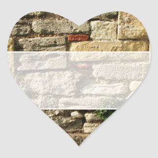 Stone Wall. With small plant. Heart Sticker