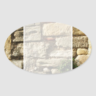 Stone Wall. With small plant. Oval Sticker