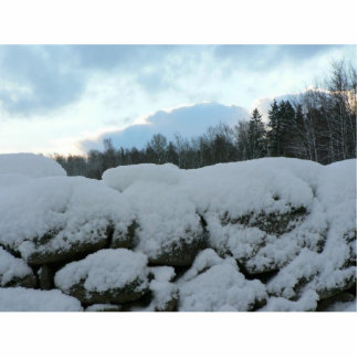 Stone Wall With Snow Cut Outs