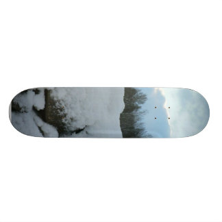 Stone Wall With Snow Skateboard Deck