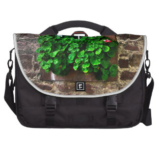 Stone Wall with Window Plants Laptop Messenger Bag