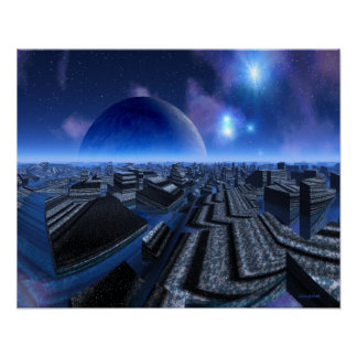 Stone Water City Science Fiction Cityscape Poster