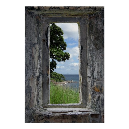 Stone Window with a Sea View Poster