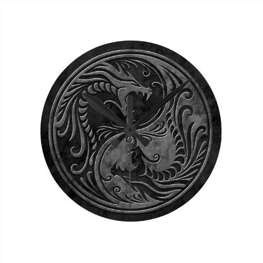 Stone Yin Yang Dragons Clock