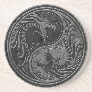 Stone Yin Yang Dragons Beverage Coaster