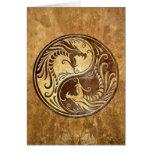 Stone Yin Yang Dragons Greeting Card