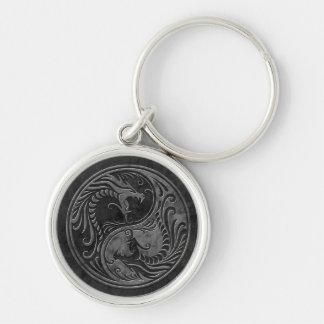 Stone Yin Yang Dragons Keychain
