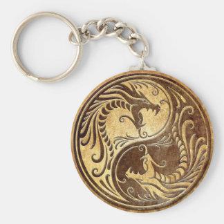 Stone Yin Yang Dragons Basic Round Button Keychain