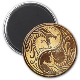 Stone Yin Yang Dragons 2 Inch Round Magnet