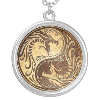 Stone Yin Yang Dragons Round Pendant Necklace