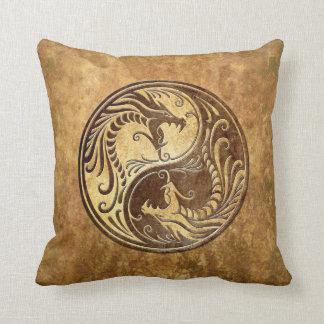 Stone Yin Yang Dragons Throw Pillows
