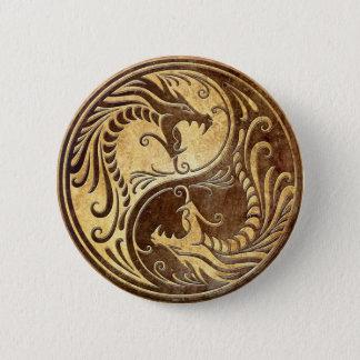 Stone Yin Yang Dragons Pinback Button