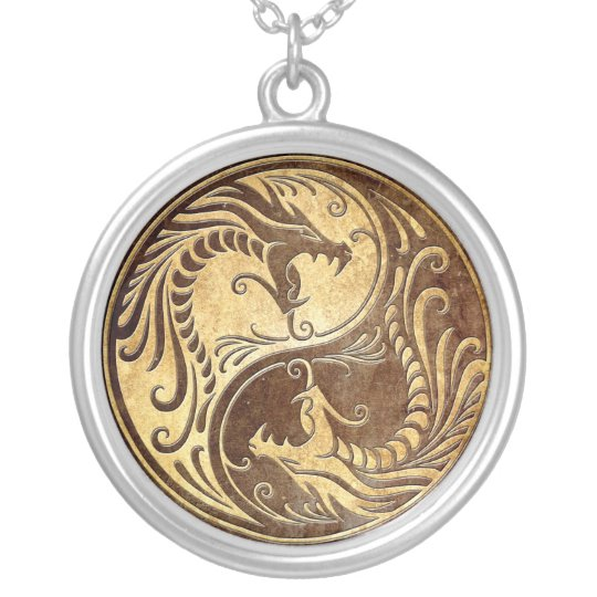 Stone Yin Yang Dragons Silver Plated Necklace