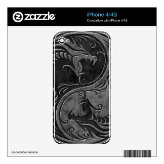 Stone Yin Yang Dragons Skin For The iPhone 4S