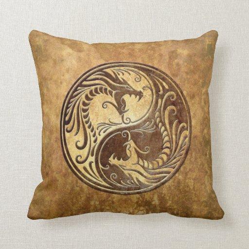 Stone Yin Yang Dragons Throw Pillow