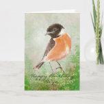 "Stonechat  Bird Happy Birthday Wife Card<br><div class=""desc"">Custom Watercolor Stonechat  Bird Happy Birthday  Wife</div>"