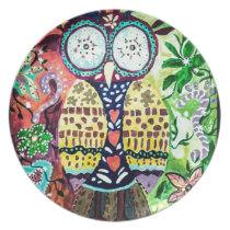 Stoned Owl Melamine Plate