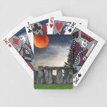 Stonehenge antiguo y Luna Llena roja mística Barajas De Cartas