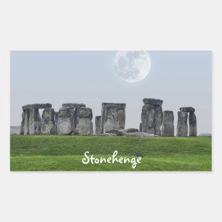 Stonehenge antiguo y luna Salisbury, Inglaterra Pegatina Rectangular