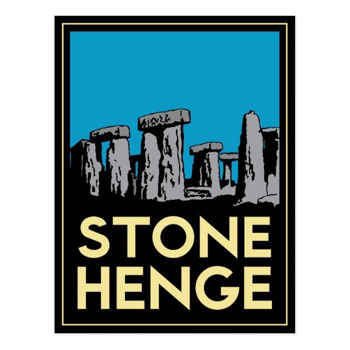 Stonehenge art deco travel poster postcard