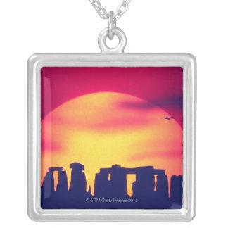 Stonehenge, England 2 Square Pendant Necklace