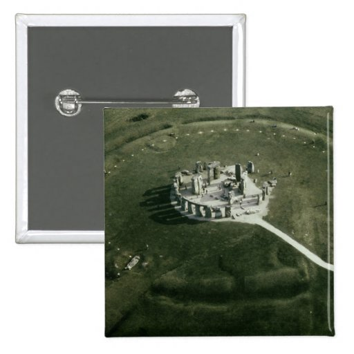 Stonehenge from the air pinback button