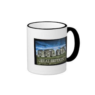 Stonehenge Image with  Caption Great Britain Ringer Mug
