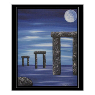 Stonehenge Prehistoric Stone Monolith Painting Poster