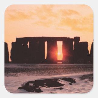 Stonehenge, solsticio de invierno pegatina cuadrada