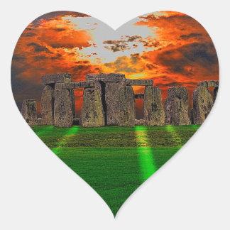 Stonehenge Standing Stones at Sunset Heart Sticker
