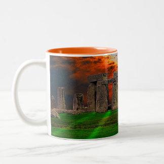Stonehenge Standing Stones at Sunset Two-Tone Coffee Mug