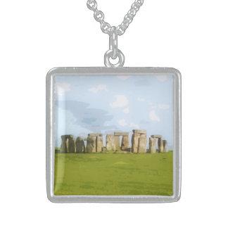 Stonehenge Stone Circle Monument Square Pendant Necklace