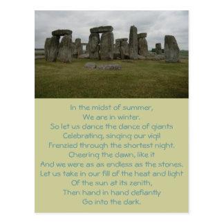 Stonehenge Summer Solstice Poem Postcard