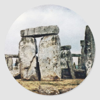 Stonehenge Watercolor Art Round Stickers