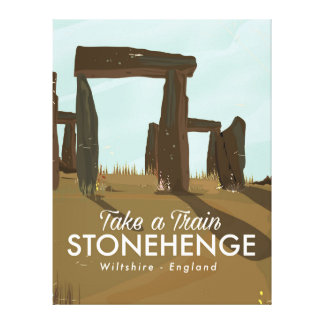 Stonehenge Wiltshire Train travel poster Canvas Print