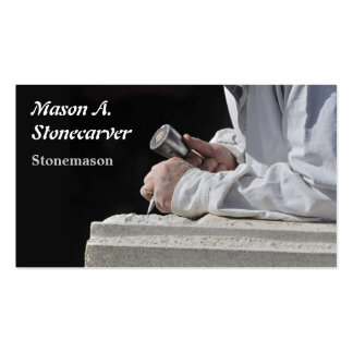 Stonemason carving block of stone business card