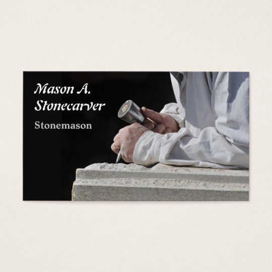 Stonemason carving block of stone business card