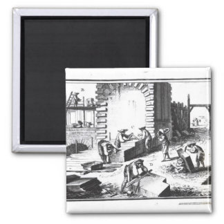 Stonemasons at work, engraved by Lucotte 2 Inch Square Magnet