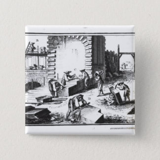 Stonemasons at work, engraved by Lucotte Button