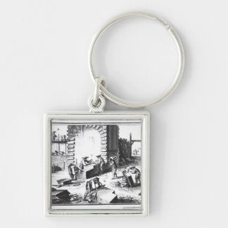 Stonemasons at work, engraved by Lucotte Keychain