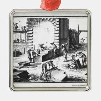 Stonemasons at work, engraved by Lucotte Square Metal Christmas Ornament