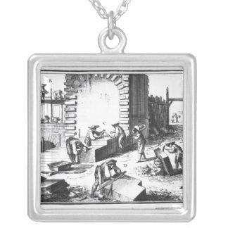 Stonemasons at work, engraved by Lucotte Silver Plated Necklace