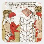 Stonemasons, from 'Traite d'Arpentage' Square Sticker