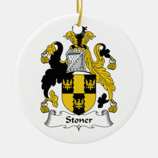 Stoner Family Crest Double-Sided Ceramic Round Christmas Ornament