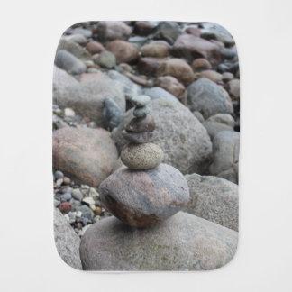 Stones at the Baltic Sea, stacked, stone balance Burp Cloth