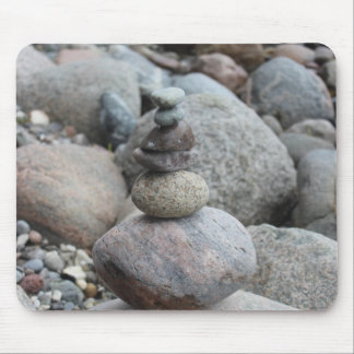 Stones at the Baltic Sea, stacked, stone balance Mouse Pad