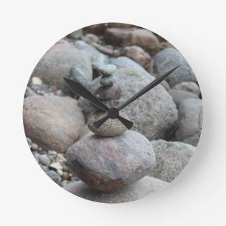 Stones at the Baltic Sea, stacked, stone balance Round Clock