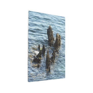 Stones in the sea metal photo print