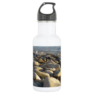 stones on the beach water bottle